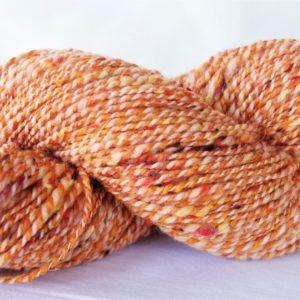 Laine filée mérinos (tweed) – orange – blanc 1187