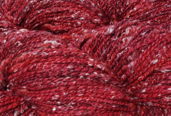 Laine filée main - mérinos et tweed rouge 1350-1351