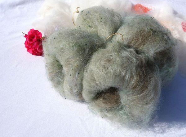 Mélange à filer. Laines mérinos tweed, mohair, texel. 1288